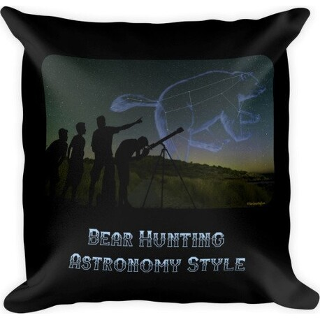 Bear Hunting Astronomy Style Square Pillow